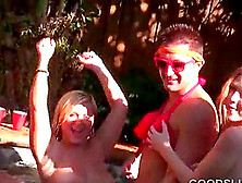 Hot Blonde Gets Pussy Pounded At A Pool Sex Party