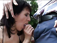 Hot Brunette Mommy Sucks Sugary Cock Outdoors With Great Passion
