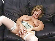 Trashy Nympho In White Stockings Just Loves Masturbating On The
