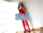 Slim,  Asian Brunette In Erotic Costume Is Gently Rubbing Her Pus