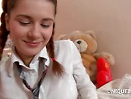 Schoolgirl Klara Plays With Round Assets