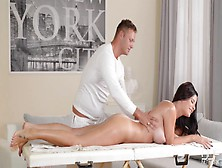 Masseur Fucking A Gorgeous Brunette'S Ass
