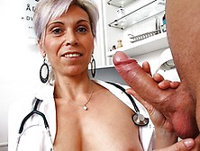 Older Uniform Milf Doctor Beate Loves Stroking Young Penis