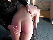 Cute Teen's Ass Spanked Red By Mature