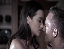 Stepdaughter Gia Paige And Older Man Enjoy Foreplay In Kitchen