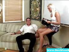 Blond Chick Jerking Off Businessman's Cock