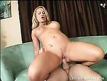Busty Blonde Victoria Vonn Struts Her Stuff,  Blows And Gets Nail