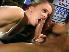 Redheaded Veronika Deep Throats And Fucks Ben English In A Publi