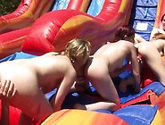 Outdoor Lesbian Babes Toying Pussy With Dildo