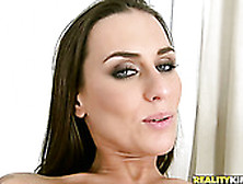 Flexible Brunette Does The Split On Dude's Cock And Gets Her Pus