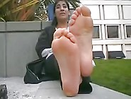 Arabian Beurette Show Her Smelly Feets On Street