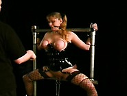 Pliant Babe Stands And Endures Heavy Breast Bondage Porn