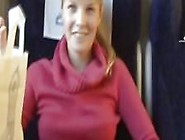 Busty Blonde At The Train
