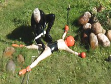 Agnadevi In Black Latex Water Torture Submissive