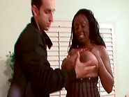 Chubby Ebony Harlot Gives Tits Job And Eager Blowjob