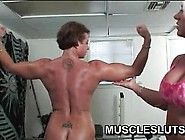 Lesbian Muscle Babes Get Dirty In The Gym