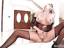 Hot Blonde Woman In Black,  Lacy Lingerie,  Samantha Saint Spread
