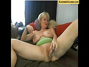 Blonde Granny Stuffing Her Holes On Webcam