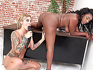 Ebony Lesbian Hottie Gets Spooked With A Huge Dildo In Interraci