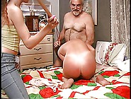 Slut Gets Down On The Bed And Guy Spanks Her Hard With Wooden Pa
