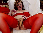 Huge Breasted Mature Lady In Red Lingerie Fucks Herself With A D
