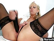 Old Blonde Nurse Using A Cucumber In Her Pussy
