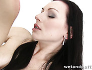 Big Breasted Brunette Filth Fucks Her Twat With A Couple Of Big
