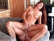 Fit Girl With Fake Tits Sits On Cock With Asshole