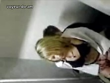 Blonde Rides Good In Hidden Public Toilet