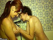 Young Lesbian Girl Bathes And Masturbates With Old Lesb