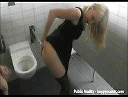 Public Nudity.  Slut Teasing Strangers In Public Mens Room