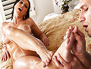 Busty Brunette Milf Gets Rubbed Down With Massage Oil And Fucked