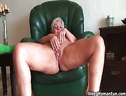 British And Full Figured Grandma Sandie Gives Old Pussy A Workou