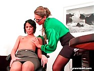 Erotic Office Play With Ladies In Sexy Satin Blouses