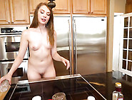A Maid Gets Her Tight Pinkish Pussy Filled With Cum On A Bed