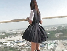 Japanese And Foxy Teen With Upskirt Is Walking Outdoors