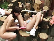 Teen Creams On Bbc Cute Brunette Casting Cutting Wood And Sl