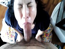Asian Maid Is Giving Her Boss The Best Deep Throat Blowjob She C