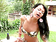 Lovely Shemale In A Sexy Bra Stroking Her Cock Outdoor