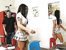 Mini Skirt Sluts Audrey Bitoni And Jenaveve Jolie Play With Jord
