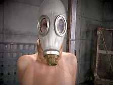 Restrained Chick In Gas Mask Is Fucked By Brutal Bbc