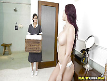 Busty Tattooed Babe Seduces And Fucks Her Sexy Maid