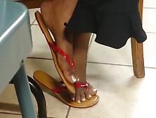 Candid Beautiful Ebony Feet In Flip Flops