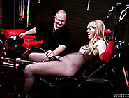 Chained Slut In Fishnets Testing Crazy Sex Machine