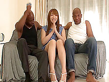 Desirous Asian Pornstar Takes On Two Black Cocks In An Epic Thre