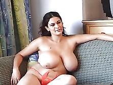Huge Hooters Romina Lopez Strokes Her Beaver Lustily