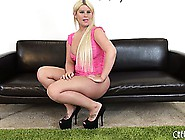 Chunky Blonde Julie Cash Is Interviewed And Shows Off Her Big As