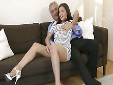 Tall Horn-Mad Nympho Henessy Seduces An Old Man To Get Her Pussy