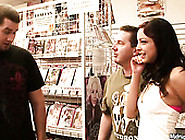 Small Titted Whore Danni Cole Strips In The Dvd Shop