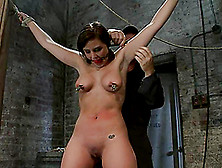 Busty Brunette Brooke Lee Adams Undergoes Some Tortures In A Bas